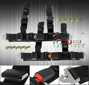 Pair Of 2 Black Nylon Race Seat Belt Mounting Harness Quick Strap Safety Buckle