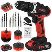 21v Electric Cordless Drill Driver Kit Clean Brush Screwdriver W/batteryandcharger