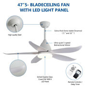 47''5 Abs Blade Metal With Glass Ceiling Fan For Living Room Corridor Lighting