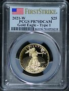 2021-w 1/2 Oz 25 Proof Gold American Eagle Pcgs Pr70 Dcam Type 1 First Strike