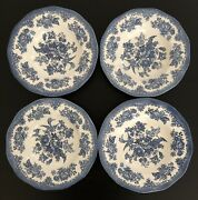 """4 Enoch Wedgewood Tunstall China England Asiatic Pheasant Blue 8-3/4"""" Soup Bowl"""