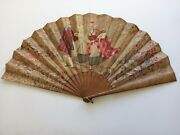Late Victorian Hand Fan With Scene Embroidered In Silk And Silver Near 15'' Tall