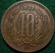 Key Date 1921 Large Copper 10 Centavos Mexiconice Grade