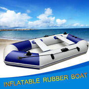 Inflatable Boat 4 Person Fishing Rowing Boat Raft Canoe Kayak W/2 Oars And Pump