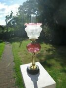 Superb Antique Brass And Cranberry Glass Oil Lamp With Vintage Shade And Chimney