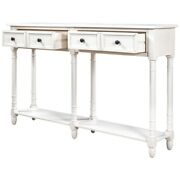 Rustic Wood Console Table Sofa Table W/ 2 Drawers Bottom Shelf For Living Room