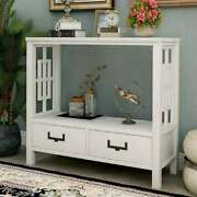 Wood Console Table W/ 2 Bottom Drawers Sofa Side Table For Entryway Living Room