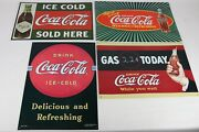 Lot Of 4 Vintage 1990's Coca Cola Brand Metal Advertising Signs Decor 17 X 12