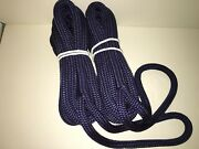 4 3/8 X 20 Navy Dock Line Double Braid Nylon Boat Rope Made In The Usa