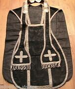 French 1800s Christian Pastor Priest Mass Chasuble And Stoleembroidered Silkrare
