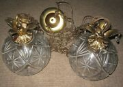 Vintage Mid Century Glass Hanging Light Fixture Double Pineapple Swag Lamp