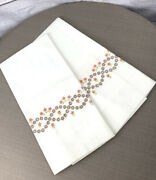 Pair Of Vintage Unused Off White Embroidered Queen Size 32 X 20 Pillow Cases