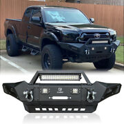 Front Bumper W/winch Plate + Led Lights + D-rings Fit Tacoma 05-15