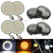 2 Bullet Style 1157 White Amber Turn Signal Inserts Panel Smoke Lens For Harley