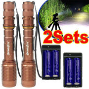 2x Tactical 990000lm Led 5 Modes Aluminum Zoom Flashlight Torch And Battery Set Xi