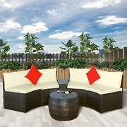 Patio Rattan Wicker Sofa Furniture Outdoor Half-moon Shape Couch Sets W/ Pillows