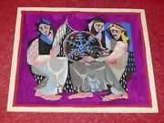 Art 20th Gouache Original Project Tapestry Dlg Jean Lurcat Ca 1950 The Spinners