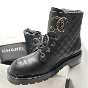 Nib 2021 Black Quilted Leather Lace Up Boots 37-38-39 Eur Sizes