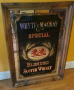 Vintage Large Whyte And Mackay Scotch Whisky Bar Framed Mirror Advertising Liquor