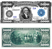 Reproduction Us 5000 Dollar Bill, Series 1918 / Large Size / High Resolution
