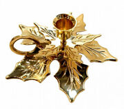 Brass Chamberstick Leaf Candlestick Indian Candle Holder Loop Handle Decor Gold