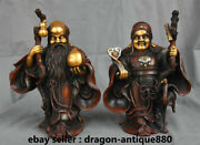 10.4 Old China Red Copper Gilt Feng Shui God Of Longevity Land Grandmother Pair