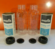 2 Vintage Evenflo Glass Baby Bottle Cap And Paper Sleeve - Metric - 8 Ounces
