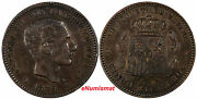Spain Alfonso Xii Bronze 1879 Om 5 Centimos Choice Xf Condit. Km674