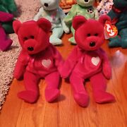 2 Ty Valentina Bear Beanie Baby 1998-1999 Brand New Errors 1 Without Ear Tag