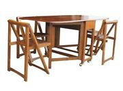 Vintage 68 Wood Folding Dining Table With Four Chairs Set