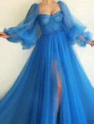 Sexy Evening Gown Dress Royal Blue A Line Square Collar Tulle Laced Long Sleeves