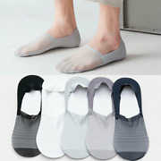 Men Invisible No Show Nonslip Loafer Low Cut Solid Ice Silk Boat Summer Socks