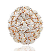 3.75 Tcw Marquise And Pear Diamond Cocktail Ring 14k Yellow Gold Handmade Jewelry