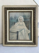 Gorgeous 19th Century Baby Painting On Board With Original Frame And Glass