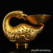 7.4 China Collection Old Pure Copper Seiko Carving Gilt Goose Oil Lamp