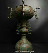 27 Old Chinese Zhan Dynasty Bronze Ware Palace 4 Dragon Incense Burner Censer