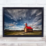 Tiny Church Cross Red Iceland Isolation Alone Lonely Solitude Wall Art Print