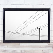 Power Lines Wiltshire England Simple Graphic Telephone Communication Art Print