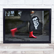 Red Boots Woody Allen Graffiti Painting Street Person Motion Wall Art Print