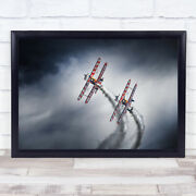 Wing Walkers Propeller Planes Air Show Smoke Contrail Aviation Wall Art Print