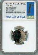 2020 W First W Reverse Pf Nickel First Day Of Issue Ngc Pf70 1st