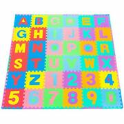 Prosource Kids Puzzle Alphabet, Numbers, 36 Tiles And Edges Assorted Colors