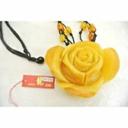 Milky Amber Necklace Flower Carving Chinese Knot One-of-a-kind Amulet Y-r121