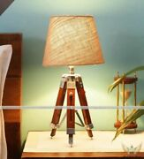 Antique Vintage Floor Lamp With Sheesham Wood Natural Shade Tripod Home Decor