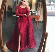 Wine Red Evening Dress Gowns Mermaid Long Puff Sleeve Train Empire Sequin Beaded