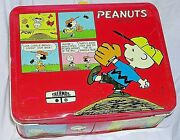 1965 Charlie Brown Lucy Snoopy Red Metal Lunchbox Vintage Schultz Peanuts Comics