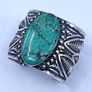 Herman Smith Navajo Cuff Bracelet In Silver With Large Turquoise Stone