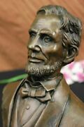 Heavy Metal 100 Solid Bronze Abraham Lincoln Bust By A Arrieta. Signed Decor