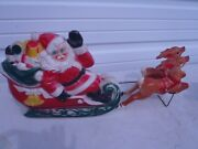 Rare Vintage Blow Mold Empire Santa Clause Sleigh With Gifts And 2 Reindeer