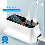 Quick Usb Charger Led Display 3-8 Ports For Iphone Samsung Fast Charging Adapter